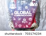 global communication connected... | Shutterstock . vector #703174234