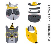 set of four cute animal faces.... | Shutterstock .eps vector #703174315