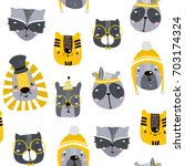 seamless childish pattern with... | Shutterstock .eps vector #703174324