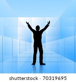 happy businessman inside glass... | Shutterstock .eps vector #70319695
