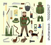 vector set of hunting and... | Shutterstock .eps vector #703202917