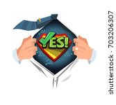 "man open shirt to show ""yes""... 
