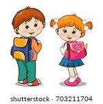 kids going to school. vector... | Shutterstock .eps vector #703211704