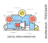 social media marketing  smm ... | Shutterstock .eps vector #703216645