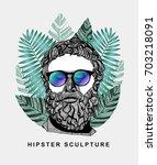hipster classical sculpture.... | Shutterstock .eps vector #703218091