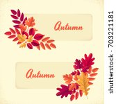 two labels with various autumn... | Shutterstock .eps vector #703221181