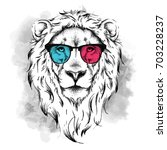 portrait of the lion in the... | Shutterstock .eps vector #703228237