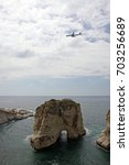 Small photo of Plane approaching the airport of Beirut, Lebanon, which is situated directly at the coast