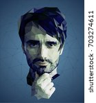 low poly portrait of a man ... | Shutterstock .eps vector #703274611