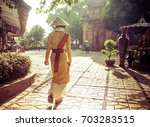 woman wearing traditional... | Shutterstock . vector #703283515