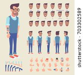front  side  back view animated ... | Shutterstock .eps vector #703302589