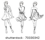 sketch. fashion girls | Shutterstock .eps vector #70330342