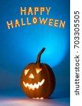 halloween pumpkin  silhouette... | Shutterstock . vector #703305505