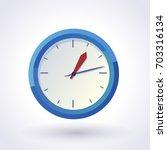 Blue Wall Clock. Vector Clip Art