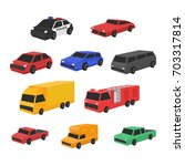 set of car in isometric view   Shutterstock .eps vector #703317814