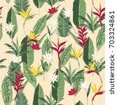 seamless hand drawn tropical...   Shutterstock .eps vector #703324861