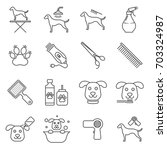 Stock vector simple set of dog grooming related vector line icons contains such icons as dog grooming washing 703324987