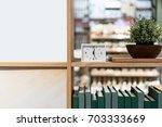modern white rectangle clock on ... | Shutterstock . vector #703333669