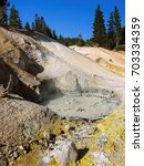 Small photo of Sulphur works boiling mudpot, Lassen Volcanic National Park. This is one of the hydrothermal tourist spots in the park, along the main park road, easy access to tourists