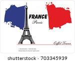 eiffel tower. france paris.... | Shutterstock .eps vector #703345939