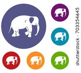 elephant icons set in flat... | Shutterstock . vector #703354645