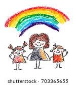 teacher with small children... | Shutterstock . vector #703365655