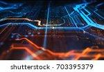 orange and blue technology... | Shutterstock . vector #703395379