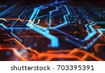 orange and blue technology... | Shutterstock . vector #703395391