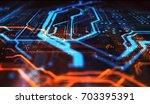 orange and blue technology... | Shutterstock . vector #703395391