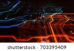 orange and blue technology... | Shutterstock . vector #703395409