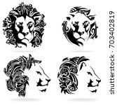 lion set  on white background ... | Shutterstock .eps vector #703402819