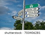 traffic direction sign in basel ...   Shutterstock . vector #703406281