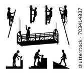 silhouettes of builders.... | Shutterstock .eps vector #703414837