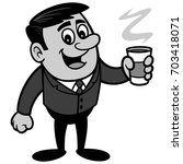 businessman with coffee... | Shutterstock .eps vector #703418071