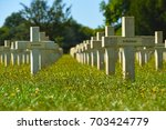 Graves at the Chasseneuil-sur-Bonnieure National Cemetery and Memorial in Central France - stock photo
