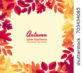 various autumn leaves frame.... | Shutterstock .eps vector #703434085