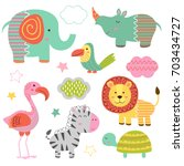 set of isolated baby jungle... | Shutterstock .eps vector #703434727
