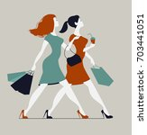 women with shopping bags. two... | Shutterstock . vector #703441051