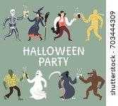 set of funny horror cartoon... | Shutterstock .eps vector #703444309