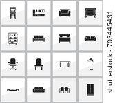 set of 16 editable furnishings... | Shutterstock .eps vector #703445431