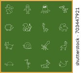 set of 16 editable zoo doodles. ...