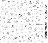 happy birthday baby doodle... | Shutterstock .eps vector #703452259
