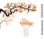 red asian autumn maple branch... | Shutterstock .eps vector #703452595