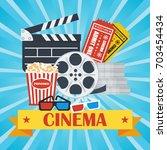 cinema concept poster template... | Shutterstock .eps vector #703454434