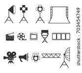 set of black video production... | Shutterstock .eps vector #703454749
