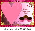 Raster version Illustration Valentines Chocolate card or invitation. May add photo and/or text. - stock photo