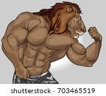 big lion  gym  life style ... | Shutterstock .eps vector #703465519