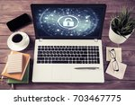 business workplace with office... | Shutterstock . vector #703467775