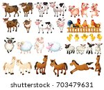 many kinds of farm animals... | Shutterstock .eps vector #703479631