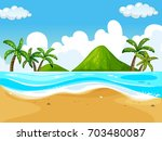 background scene with beach and ... | Shutterstock .eps vector #703480087